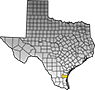 Map showing Kleberg County location within the state of Texas